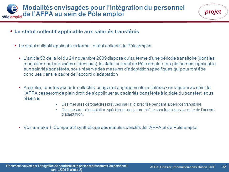 32 Pôle emploi Centre Fiches des instances Version Codir du 9 janvier 2009 32 Document couvert par lobligation de confidentialité par les représentant