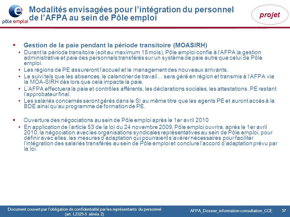 37 Pôle emploi Centre Fiches des instances Version Codir du 9 janvier 2009 37 Document couvert par lobligation de confidentialité par les représentant