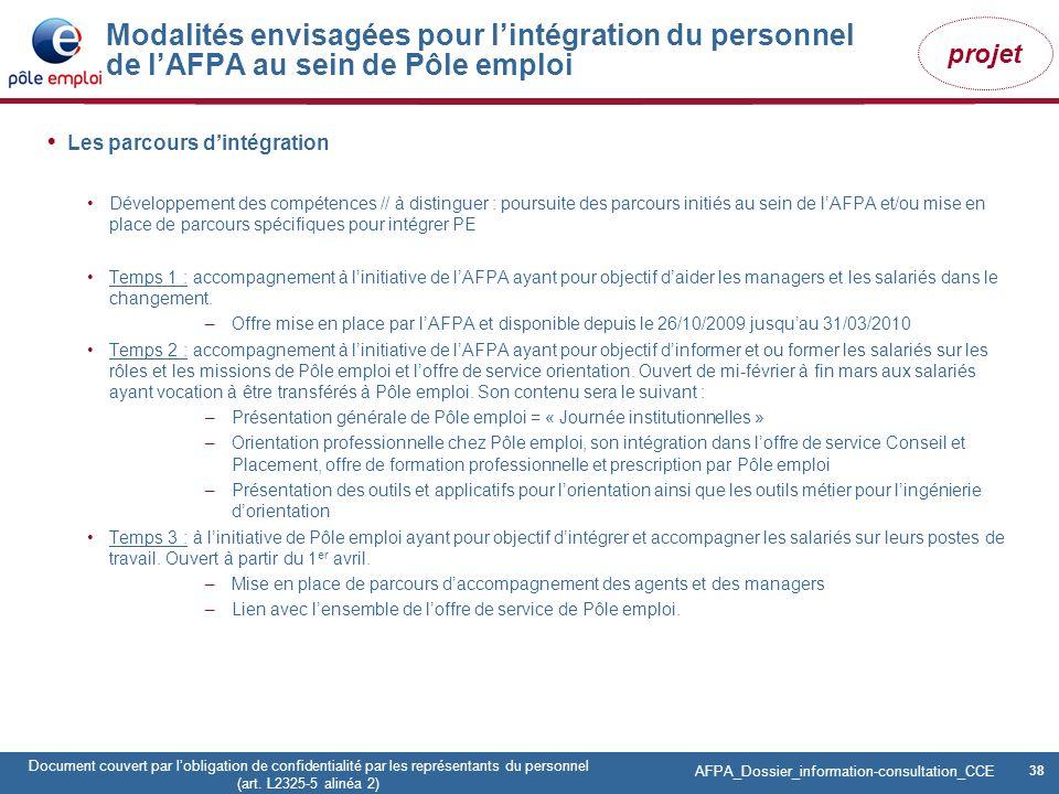 38 Pôle emploi Centre Fiches des instances Version Codir du 9 janvier 2009 38 Document couvert par lobligation de confidentialité par les représentant