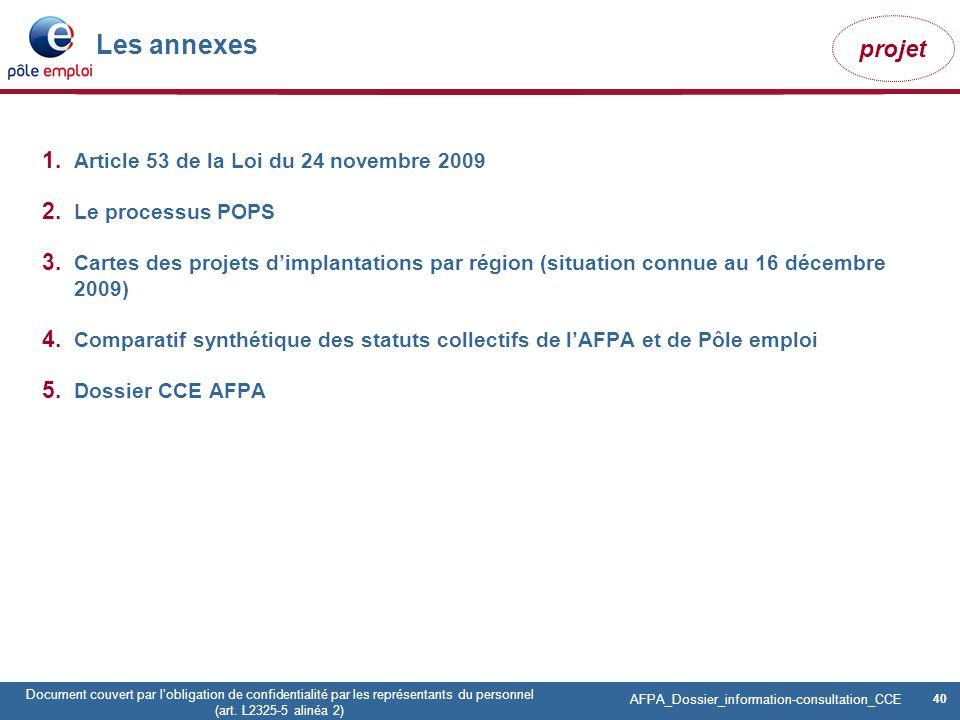 40 Pôle emploi Centre Fiches des instances Version Codir du 9 janvier 2009 40 Document couvert par lobligation de confidentialité par les représentant