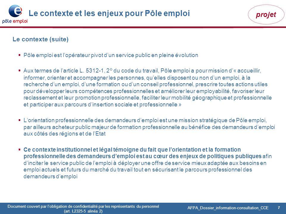 7 Pôle emploi Centre Fiches des instances Version Codir du 9 janvier 2009 7 Document couvert par lobligation de confidentialité par les représentants