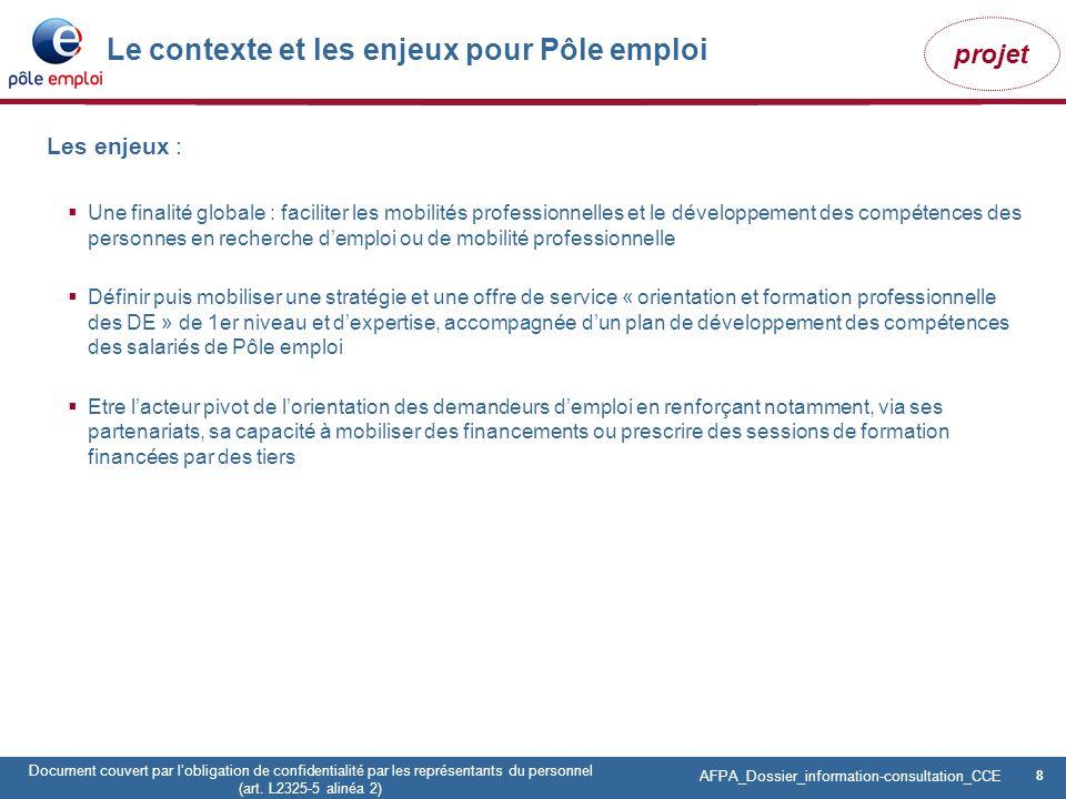8 Pôle emploi Centre Fiches des instances Version Codir du 9 janvier 2009 8 Document couvert par lobligation de confidentialité par les représentants