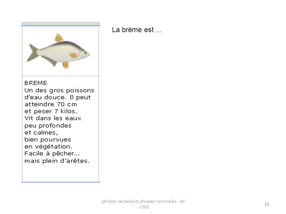 phrases verbales et phrases nominales - AV - CM2 18 La brème est...
