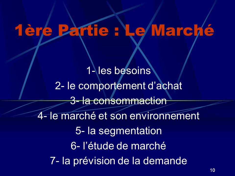 10 1ère Partie : Le Marché 1- les besoins 2- le comportement dachat 3- la consommaction 4- le marché et son environnement 5- la segmentation 6- létude de marché 7- la prévision de la demande