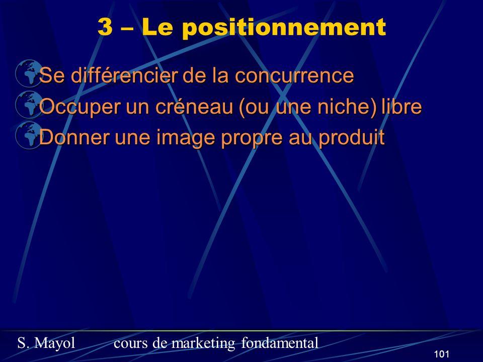 S. Mayolcours de marketing fondamental 101 Se différencier de la concurrence Se différencier de la concurrence Occuper un créneau (ou une niche) libre