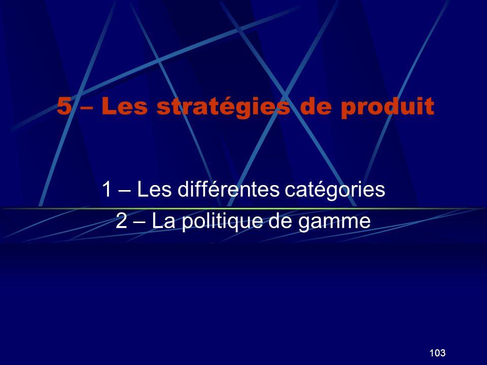 103 5 – Les stratégies de produit 1 – Les différentes catégories 2 – La politique de gamme