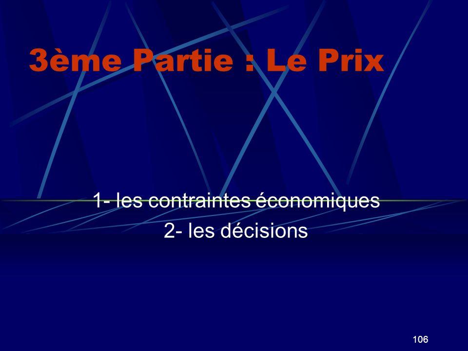 106 3ème Partie : Le Prix 1- les contraintes économiques 2- les décisions