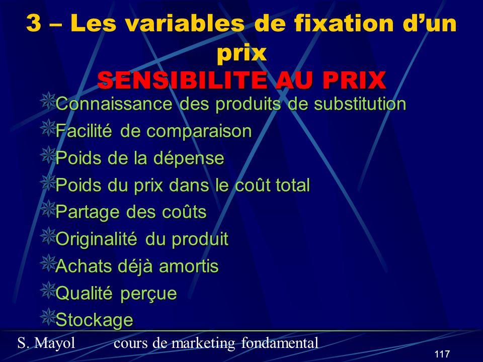 S. Mayolcours de marketing fondamental 117 SENSIBILITE AU PRIX Connaissance des produits de substitution Connaissance des produits de substitution Fac