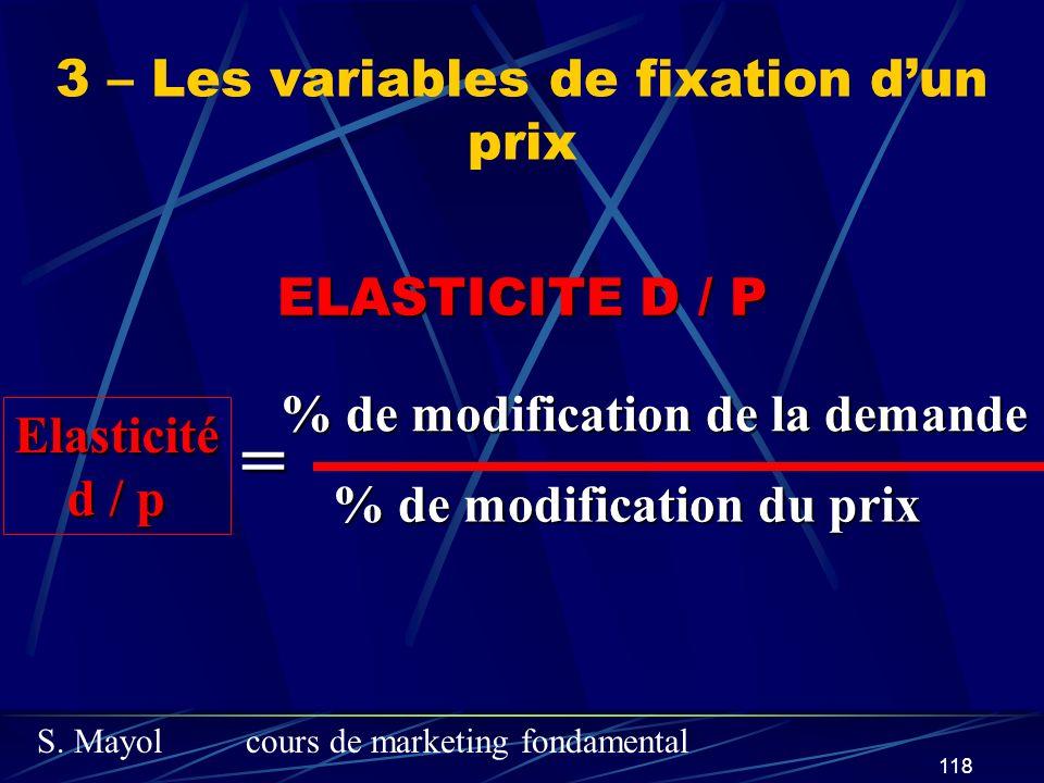 S. Mayolcours de marketing fondamental 118 ELASTICITE D / P Elasticité d / p % de modification de la demande % de modification du prix = 3 – Les varia