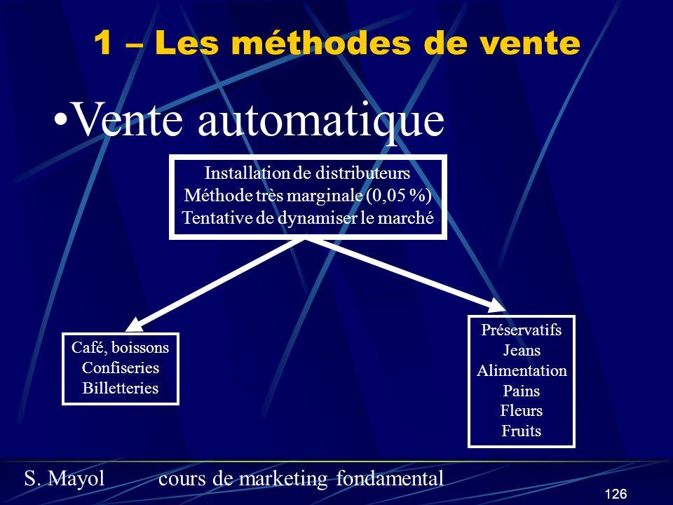 S. Mayolcours de marketing fondamental 126 1 – Les méthodes de vente Vente automatique Installation de distributeurs Méthode très marginale (0,05 %) T