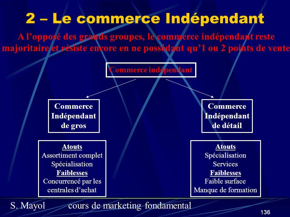 S. Mayolcours de marketing fondamental 136 2 – Le commerce Indépendant A lopposé des grands groupes, le commerce indépendant reste majoritaire et rési