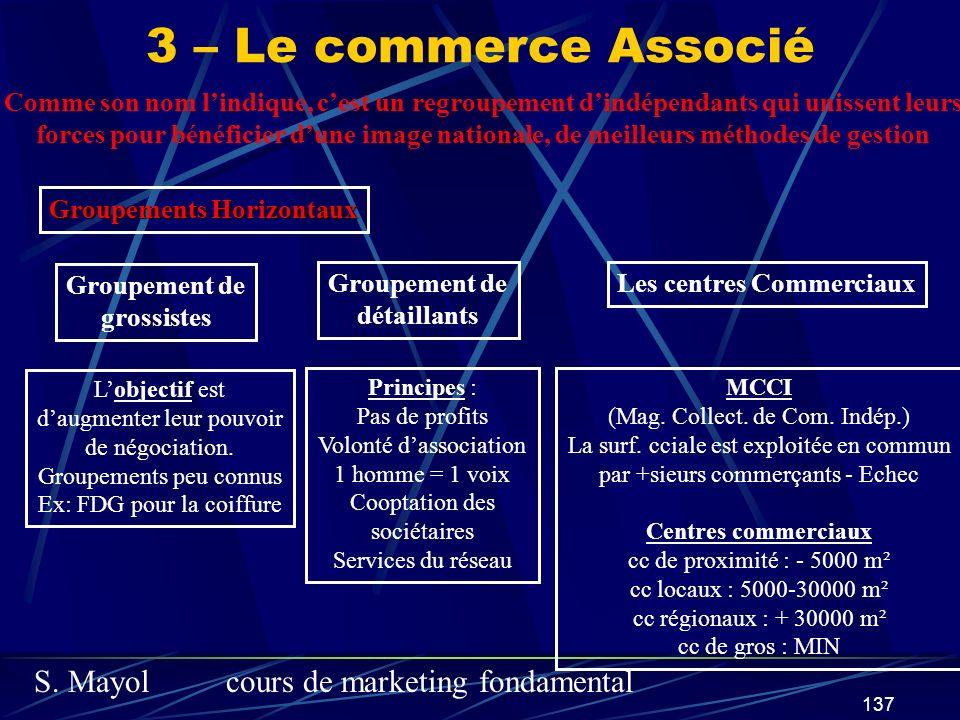 S. Mayolcours de marketing fondamental 137 3 – Le commerce Associé Comme son nom lindique, cest un regroupement dindépendants qui unissent leurs force