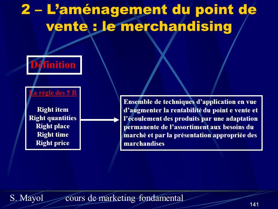 S. Mayolcours de marketing fondamental 141 2 – Laménagement du point de vente : le merchandising La règle des 5 R Right item Right quantities Right pl