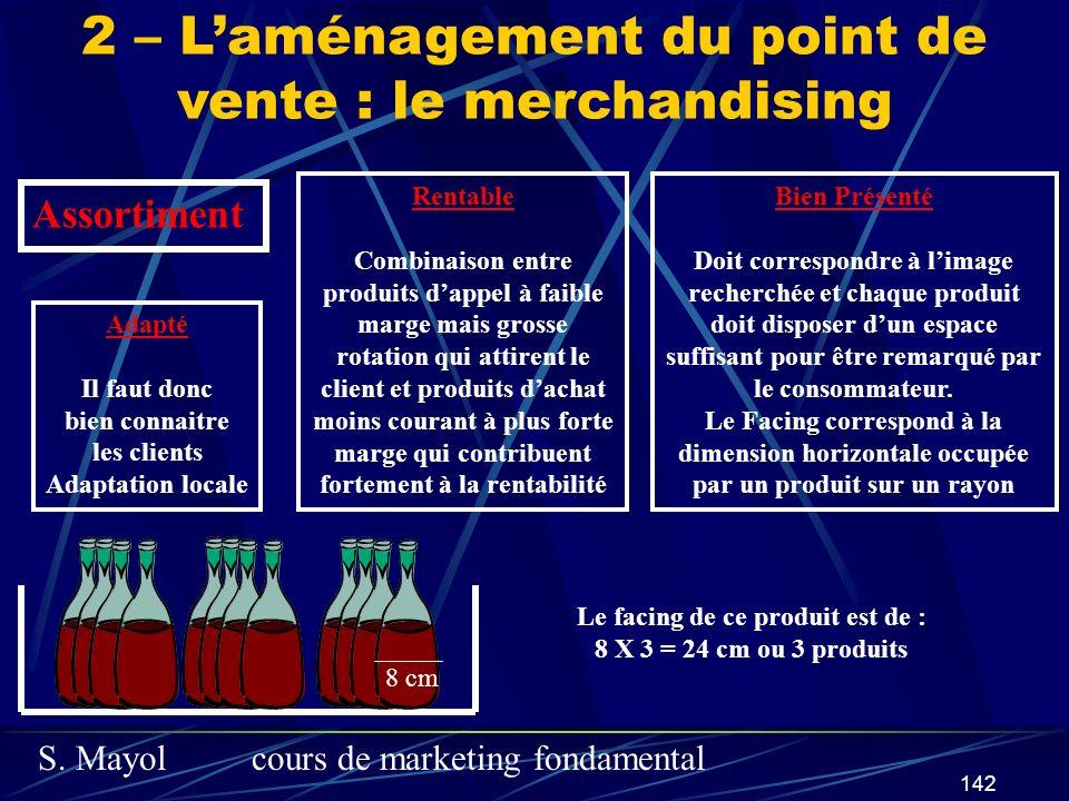 S. Mayolcours de marketing fondamental 142 2 – Laménagement du point de vente : le merchandising Adapté Il faut donc bien connaitre les clients Adapta