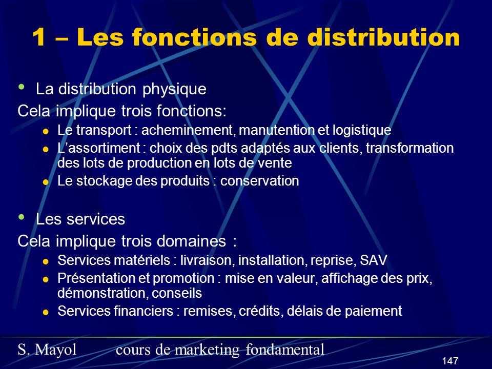 S. Mayolcours de marketing fondamental 147 La distribution physique Cela implique trois fonctions: Le transport : acheminement, manutention et logisti