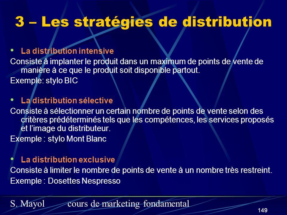 S. Mayolcours de marketing fondamental 149 La distribution intensive Consiste à implanter le produit dans un maximum de points de vente de manière à c