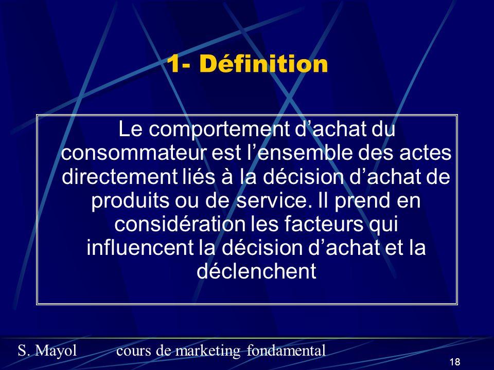 S. Mayolcours de marketing fondamental 18 1- Définition Le comportement dachat du consommateur est lensemble des actes directement liés à la décision
