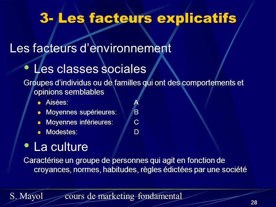 S. Mayolcours de marketing fondamental 28 3- Les facteurs explicatifs Les classes sociales Groupes dindividus ou de familles qui ont des comportements