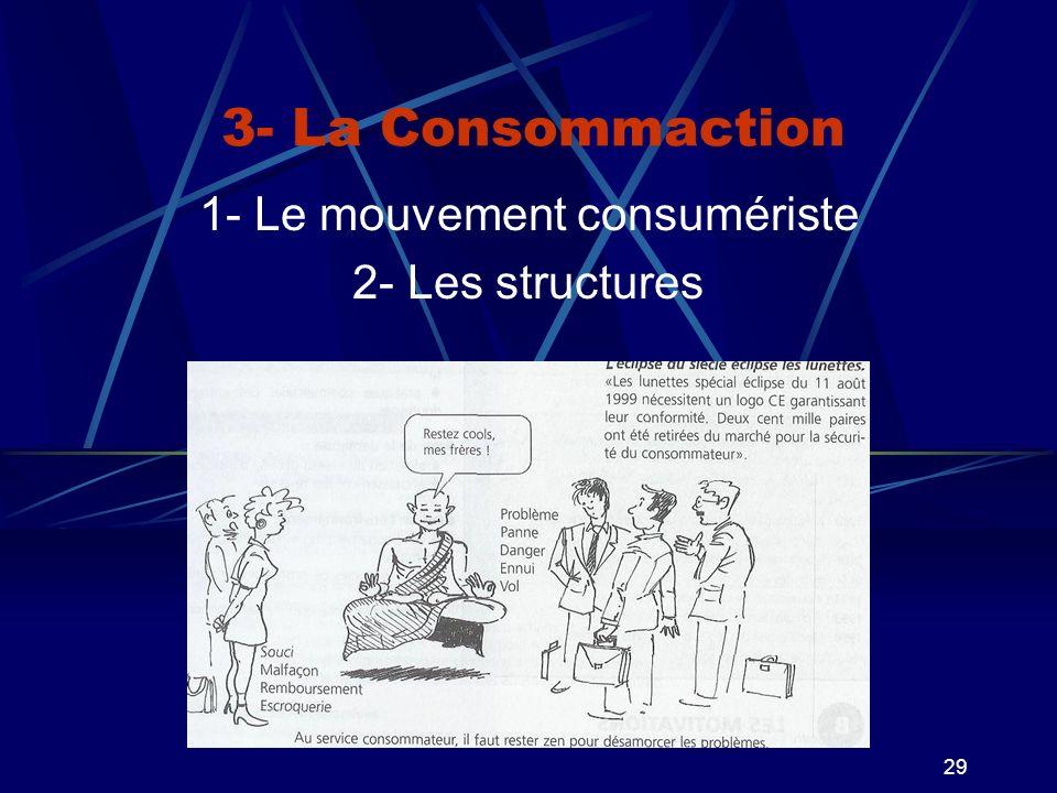 29 3- La Consommaction 1- Le mouvement consumériste 2- Les structures