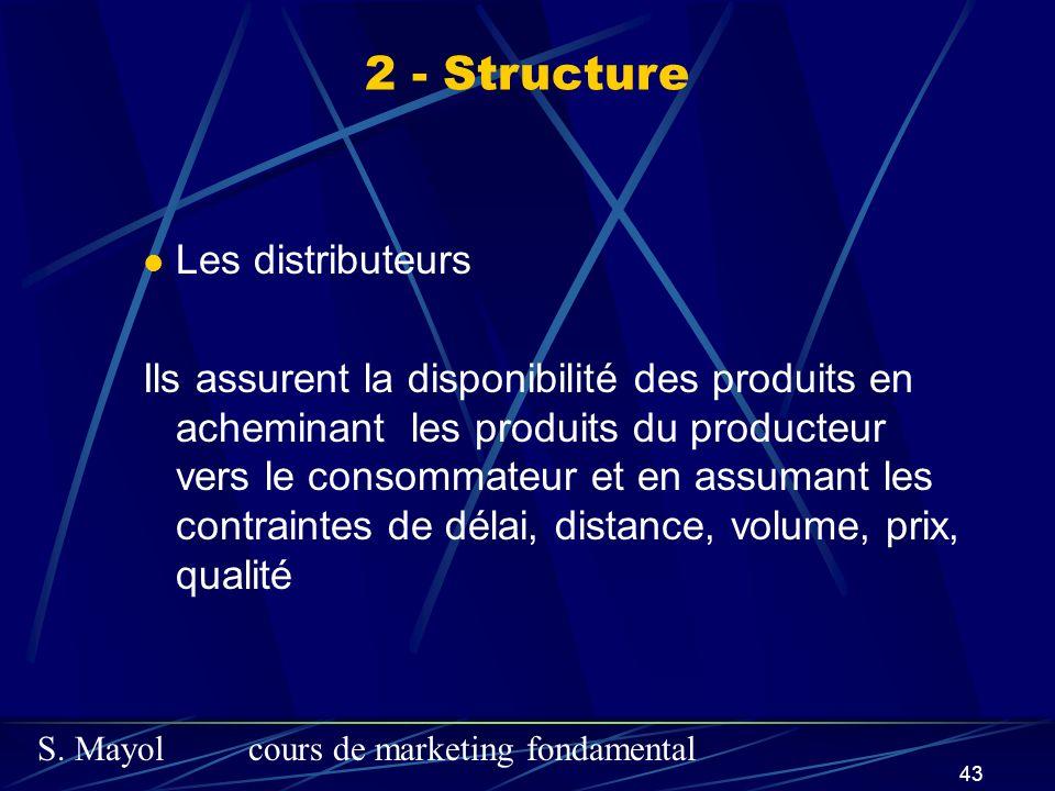 S. Mayolcours de marketing fondamental 43 Les distributeurs Ils assurent la disponibilité des produits en acheminant les produits du producteur vers l