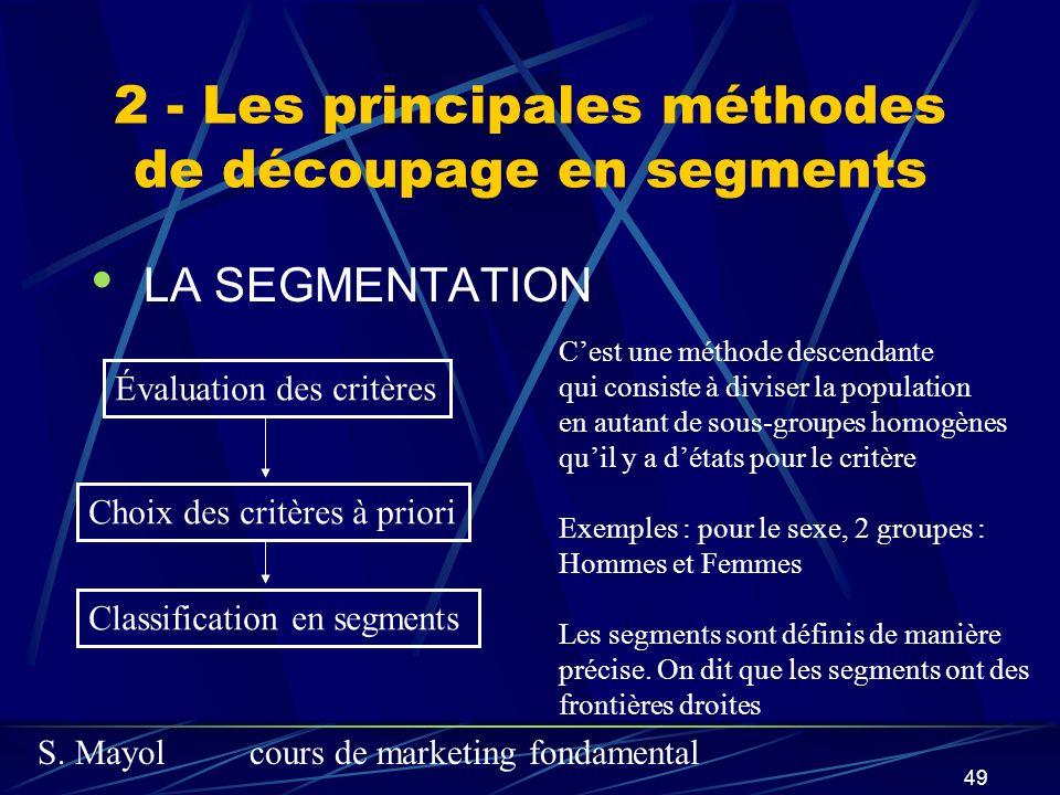 S. Mayolcours de marketing fondamental 49 2 - Les principales méthodes de découpage en segments LA SEGMENTATION Évaluation des critères Choix des crit