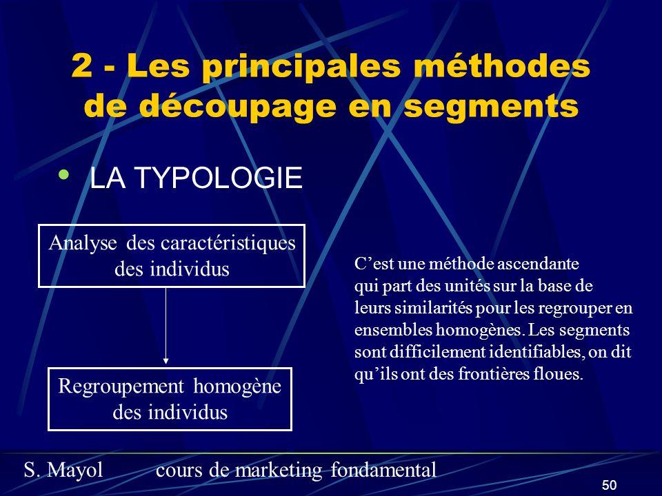 S. Mayolcours de marketing fondamental 50 2 - Les principales méthodes de découpage en segments LA TYPOLOGIE Analyse des caractéristiques des individu
