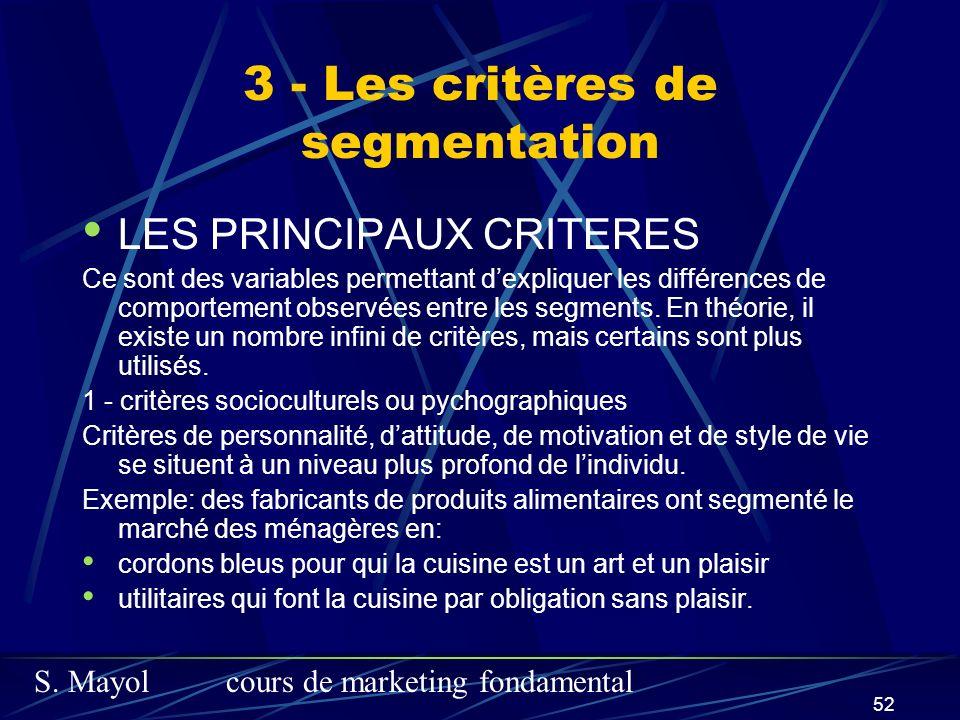 S. Mayolcours de marketing fondamental 52 LES PRINCIPAUX CRITERES Ce sont des variables permettant dexpliquer les différences de comportement observée