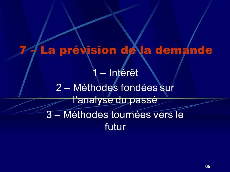 69 7 – La prévision de la demande 1 – Intérêt 2 – Méthodes fondées sur lanalyse du passé 3 – Méthodes tournées vers le futur