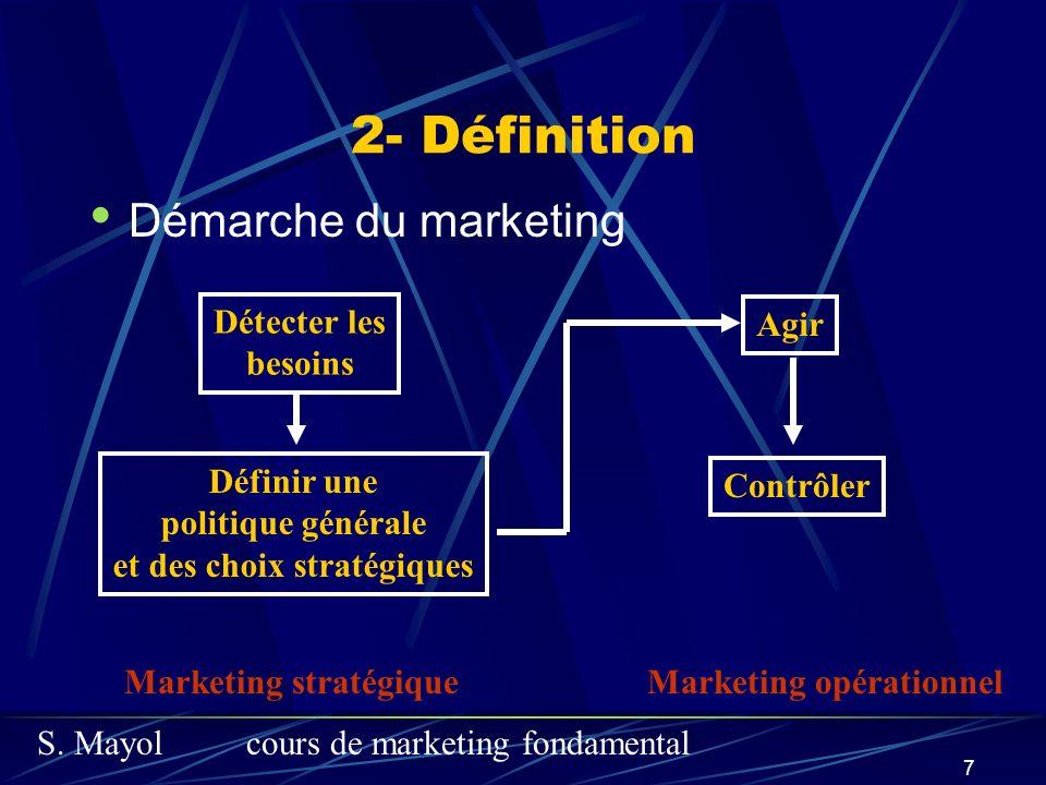 S. Mayolcours de marketing fondamental 7 2- Définition Démarche du marketing Détecter les besoins Définir une politique générale et des choix stratégi