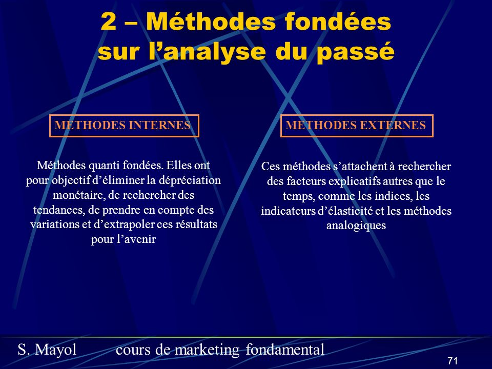 S. Mayolcours de marketing fondamental 71 2 – Méthodes fondées sur lanalyse du passé METHODES INTERNESMETHODES EXTERNES Méthodes quanti fondées. Elles