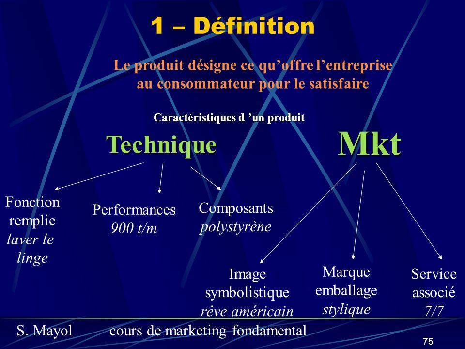 S. Mayolcours de marketing fondamental 75 Caractéristiques d un produit Technique Mkt Fonction remplie laver le linge Performances 900 t/m Composants