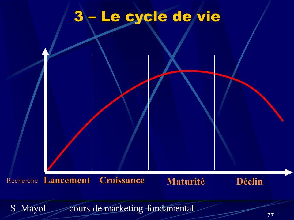 S. Mayolcours de marketing fondamental 77 LancementCroissance MaturitéDéclin 3 – Le cycle de vie Recherche