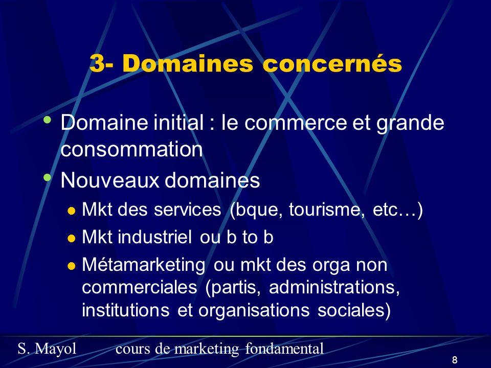 S. Mayolcours de marketing fondamental 8 3- Domaines concernés Domaine initial : le commerce et grande consommation Nouveaux domaines Mkt des services