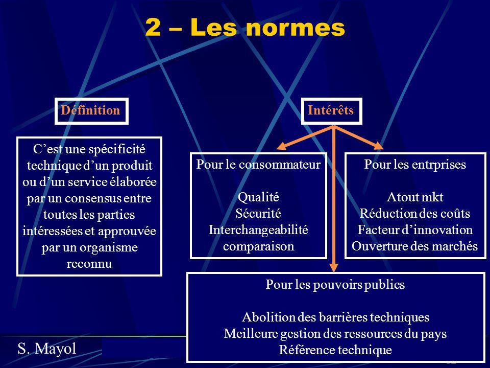 S. Mayolcours de marketing fondamental 82 2 – Les normes Cest une spécificité technique dun produit ou dun service élaborée par un consensus entre tou
