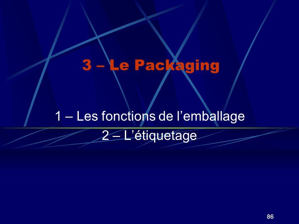 86 3 – Le Packaging 1 – Les fonctions de lemballage 2 – Létiquetage