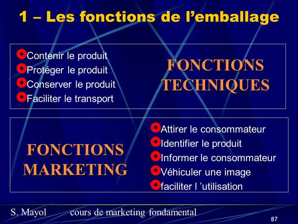 S. Mayolcours de marketing fondamental 87 Contenir le produit Protéger le produit Conserver le produit Faciliter le transport Attirer le consommateur