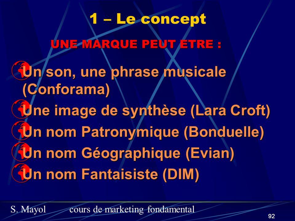 S. Mayolcours de marketing fondamental 92 UNE MARQUE PEUT ETRE : Un son, une phrase musicale (Conforama) Un son, une phrase musicale (Conforama) Une i
