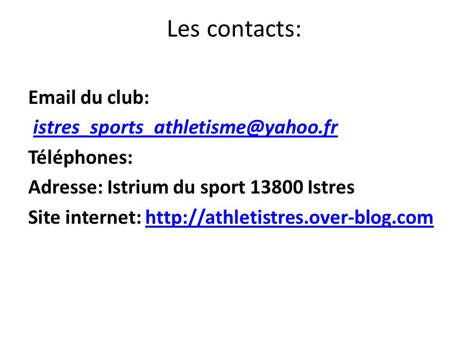 Les contacts: Email du club: istres_sports_athletisme@yahoo.fr Téléphones: Adresse: Istrium du sport 13800 Istres Site internet: http://athletistres.o