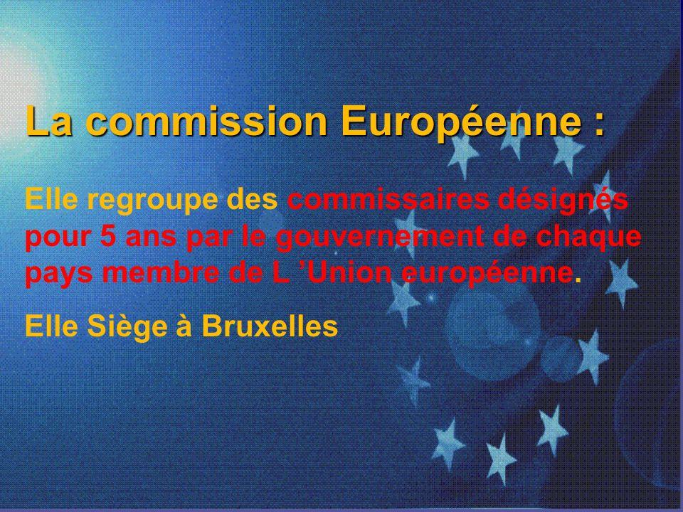 La commission Européenne : Elle regroupe des commissaires désignés pour 5 ans par le gouvernement de chaque pays membre de L Union européenne.