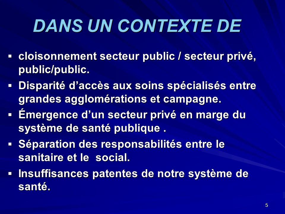 5 DANS UN CONTEXTE DE cloisonnement secteur public / secteur privé, public/public. cloisonnement secteur public / secteur privé, public/public. Dispar