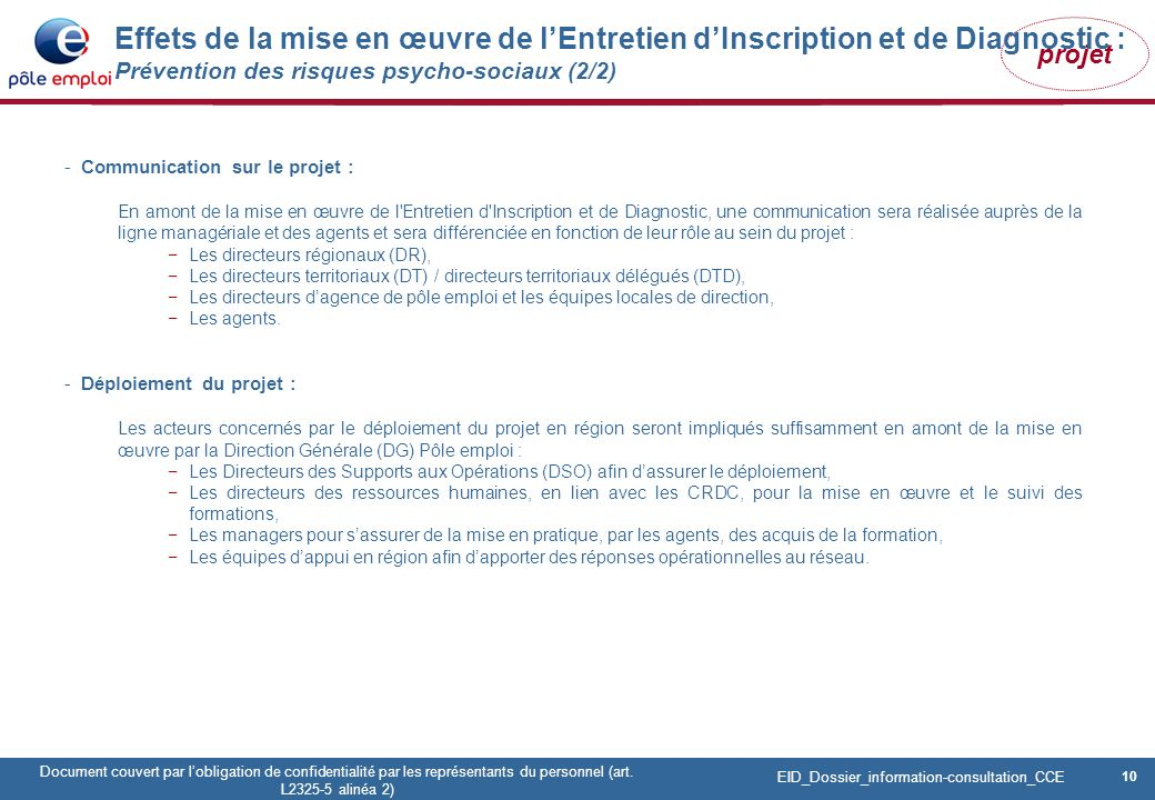 10 Pôle emploi Centre Fiches des instances Version Codir du 9 janvier 2009 10 Document couvert par lobligation de confidentialité par les représentants du personnel (art.
