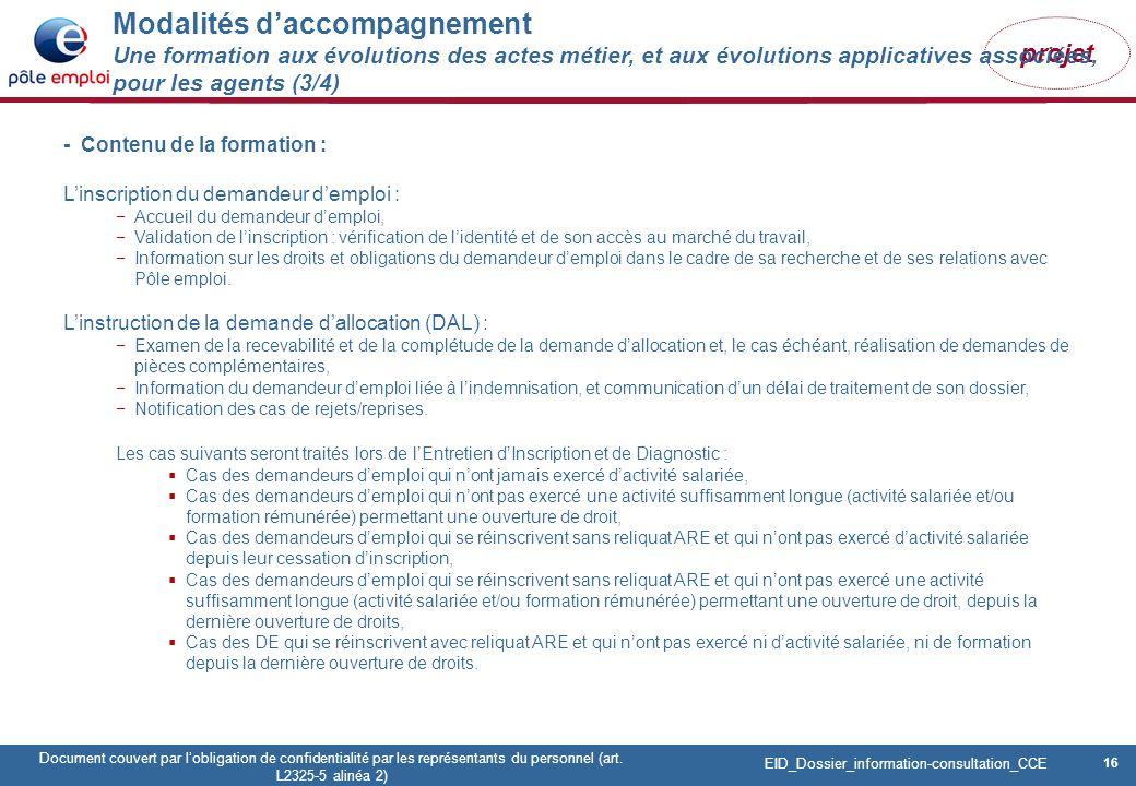 16 Pôle emploi Centre Fiches des instances Version Codir du 9 janvier 2009 16 Document couvert par lobligation de confidentialité par les représentants du personnel (art.