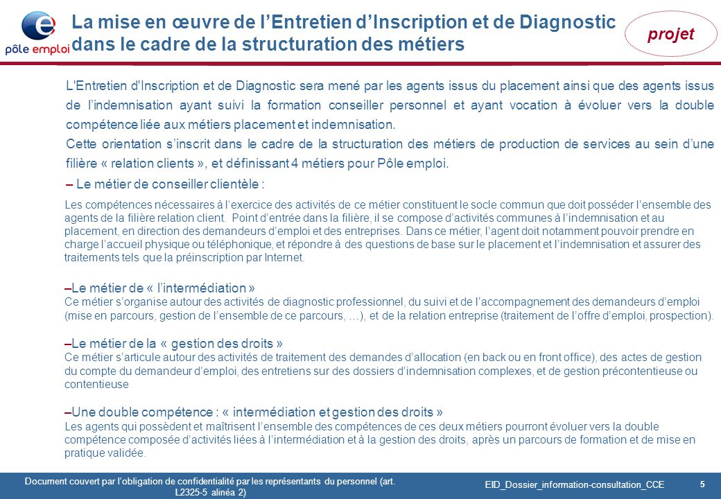 5 Pôle emploi Centre Fiches des instances Version Codir du 9 janvier 2009 5 Document couvert par lobligation de confidentialité par les représentants du personnel (art.