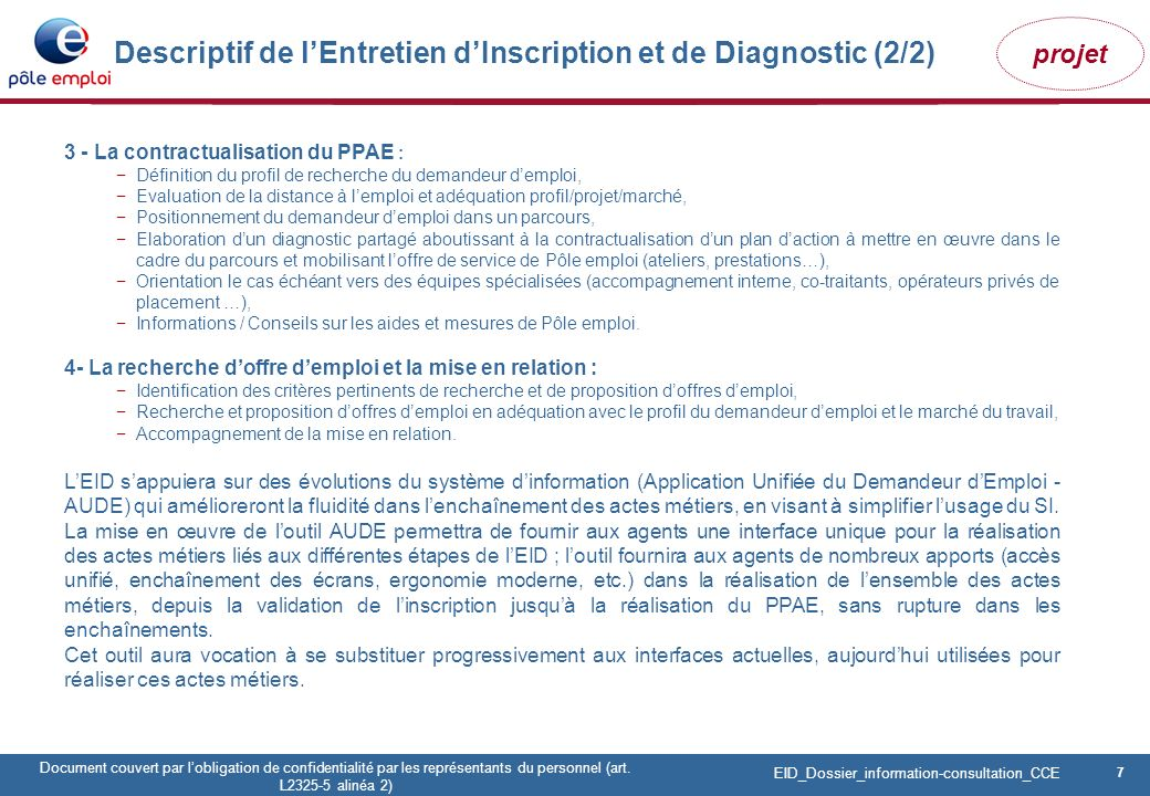 7 Pôle emploi Centre Fiches des instances Version Codir du 9 janvier 2009 7 Document couvert par lobligation de confidentialité par les représentants du personnel (art.
