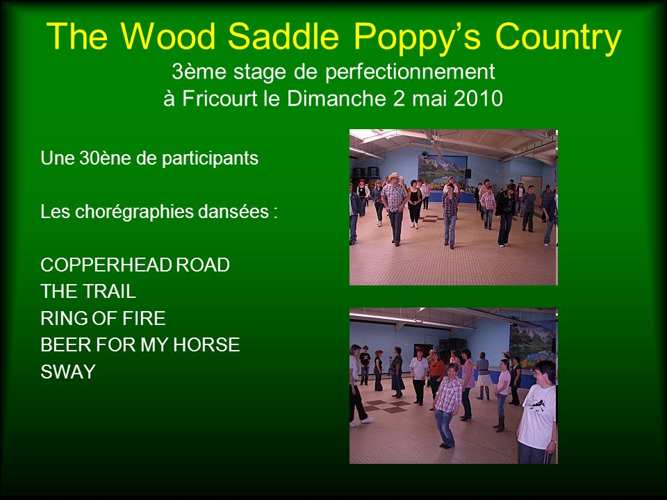 The Wood Saddle Poppys Country 3ème stage de perfectionnement à Fricourt le Dimanche 2 mai 2010 Une 30ène de participants Les chorégraphies dansées : COPPERHEAD ROAD THE TRAIL RING OF FIRE BEER FOR MY HORSE SWAY