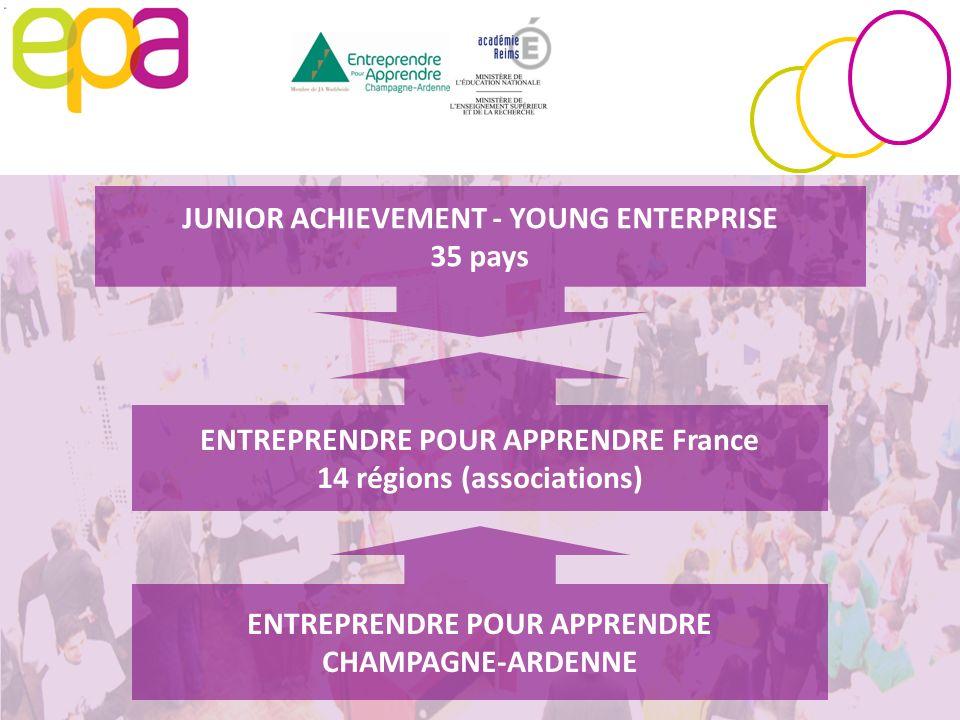 JUNIOR ACHIEVEMENT - YOUNG ENTERPRISE 35 pays ENTREPRENDRE POUR APPRENDRE France 14 régions (associations) ENTREPRENDRE POUR APPRENDRE CHAMPAGNE-ARDEN