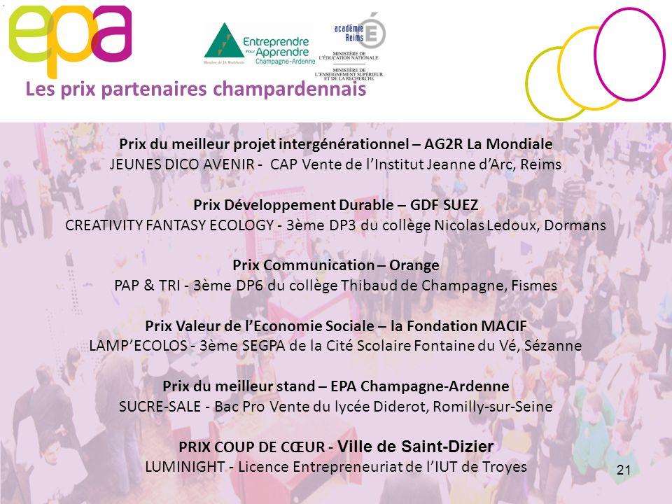 Prix du meilleur projet intergénérationnel – AG2R La Mondiale JEUNES DICO AVENIR - CAP Vente de lInstitut Jeanne dArc, Reims Prix Développement Durabl