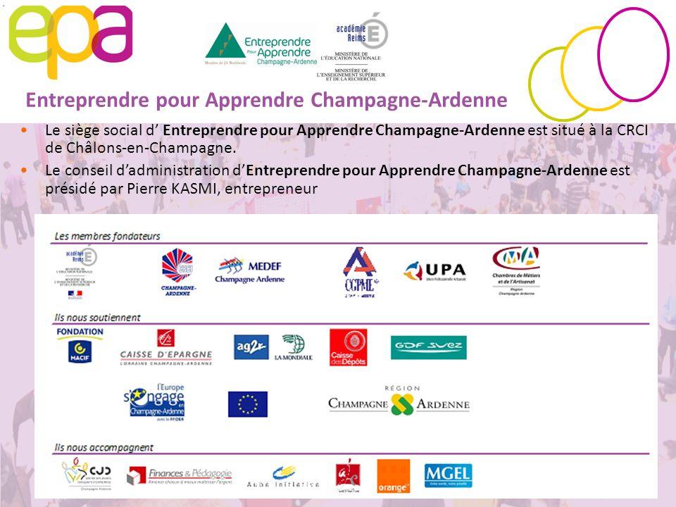 3 Entreprendre pour Apprendre Champagne-Ardenne Le siège social d Entreprendre pour Apprendre Champagne-Ardenne est situé à la CRCI de Châlons-en-Cham