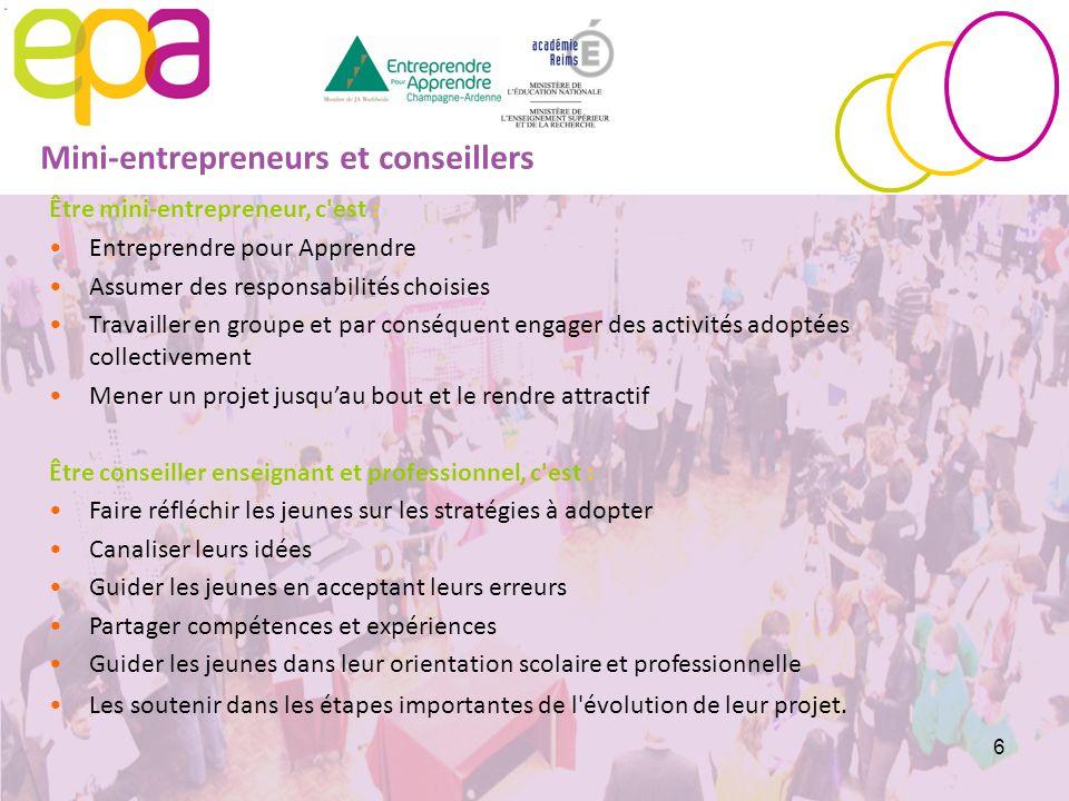 6 Être mini-entrepreneur, c'est : Entreprendre pour Apprendre Assumer des responsabilités choisies Travailler en groupe et par conséquent engager des