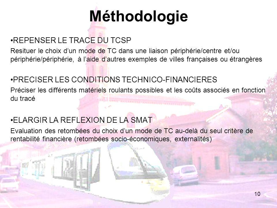 10 Méthodologie REPENSER LE TRACE DU TCSP Resituer le choix dun mode de TC dans une liaison périphérie/centre et/ou périphérie/périphérie, à laide dau